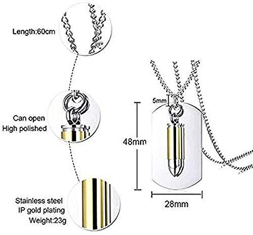 Collar personalizado Collar personalizado Dos piezas de acero inoxidable Urna de cremación Militar Bullet Dog Tags ID Colgante Collar para hombres 24 -Negro_Blue para mujeres Hombres Niños Niñas Regal
