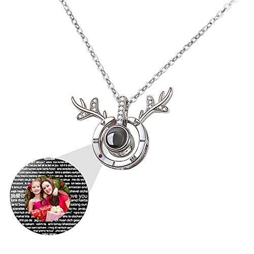 Personalized Projection Necklace 100 Languages I LOVE YOU Necklace Custom Photo Necklace Antler Pendant Love Memory Necklace(Silver Full Color 14)