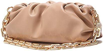 Women s Chain Pouch Bag Cloud Shaped Dumpling Clutch Purse Ruched Chain Link Shoulder Handbag product image