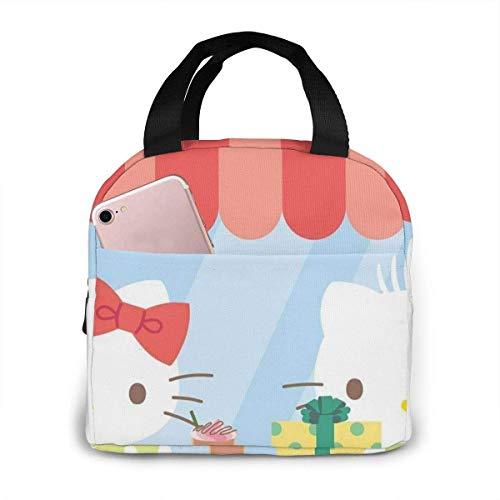keben Bolsa de almuerzo He-llo-Kit-ty con bolsa de almuerzo aislada para el almuerzo, contenedores de preparación de comida para mujeres, hombres y niños