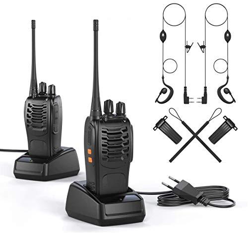 Walkie Talkie 2 x Funkgerät Set, wiederaufladbares Vox Radio Pmr 446 mhz 1500 mAh 6 km Reichweite , Sprechfunkgerät mit Led Taschenlampe und Headset