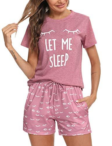 Aibrou Pijama Mujer, Conjunto Pijama Mujer Ropa de Casa Dormir de Manga Corta en Cuello Redondo Pijama EstampadoConjuntos Camiseta y Punto de Onda Pantalon Mujer per Casual Rosado S