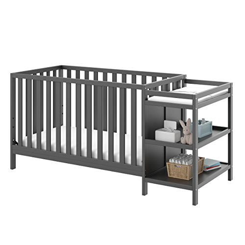 Storkcraft Pacific 4-in-1 Convertible Crib and Changer, Gray Easily Converts to Toddler Bed, Day Bed or Full Bed, 3 Position Adjustable Height Mattress