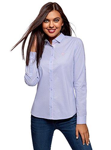 oodji Ultra Damen Bedrucktes Hemd mit Stickerei, Blau, DE 36 / EU 38 / S