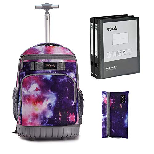 Tilami Rolling Backpack 18 inch Binder and Pencil Case Laptop Backpack, Galaxy Purple