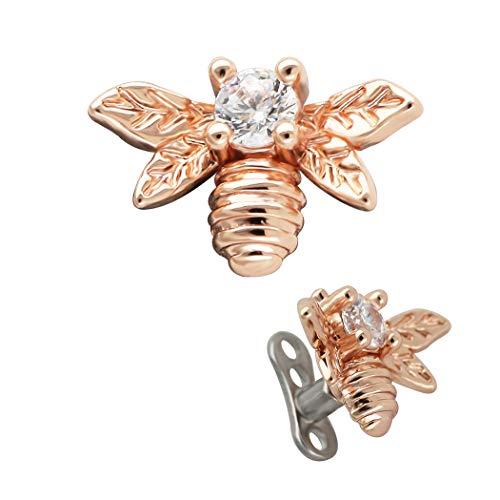 Excepro - Ancla Dermal G23 de titanio multicolor chapado en abejas CZ Body Jewelry Anchor Dermal Tops