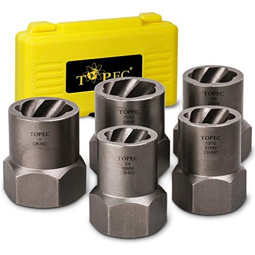 """Topec 5-Piece Heavy Duty Nut Bolt Remover set, 1/2"""" Drive Impact Extractor Set, Perfect Tool Kit for Removing Stripped, Damaged, Rounded off and Rusted Bolts & Nuts, and Shorter Profile Lug Nuts"""