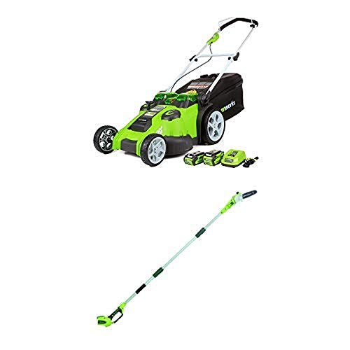 Greenworks 20-Inch 40V Twin Force Cordless Lawn Mower with 8.5' 40V Cordless Pole Saw Battery Not Included 20302 -  Sunrise Global Marketing, LLC