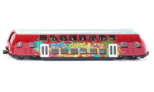 SIKU 1791, Doppelstock-Zug, 1:87, Metall/Kunststoff, Rot, Graffiti-Optik, Kompatibel mit anderen SIKU Spielzeugen