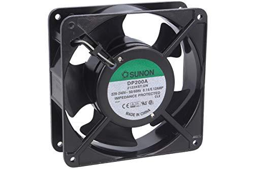 SUNON DP200A-2123XBT-R - Bola de ventilador de CA 220 VAC, 117 CFM, terminales, UL/CSA/TUV, 120 mm de largo x 120 mm de ancho x 38 mm de alto