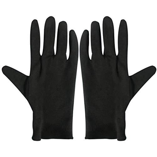 Solustre 12 Paar baumwollhandschuhe Schwarz Stoff Handschuhe Schutzhandschuhe Arbeitshandschuhe Juweliergeschäft Schmuckinspektion Zeremonie Etikette Restaurant Zuhause Labor Im Freien (Größe S)