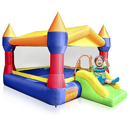 Inflatable Bounce House Castle Bouncer – Indoor/Outdoor Portable Jumping Bounce Castle w/ Mini Slide, Safety Net – Kids…