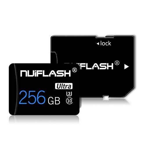 256 GB Micro SD-Speicherkarte (Klasse 10 High Speed) SD-Speicherkarte/TF-Karte mit Adapter für Kamera, Telefon, Computer, Nintendo Switch, Dash Came, Überwachung, Drohne(256GB-XK)