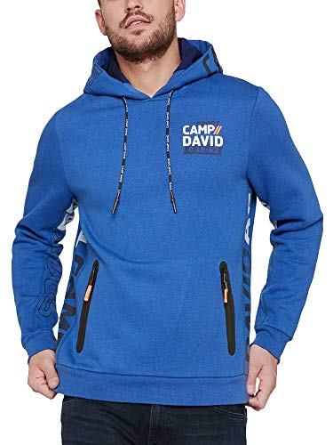 Camp David Herren Fleece Hoodie mit Logo und Waterproof Zippern
