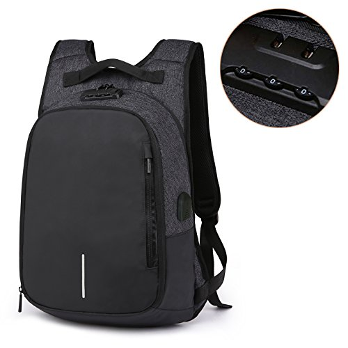 Loiee Anti diefstal laptop rugzak met usb opladen poort, Zakelijke rugzak past 14 inch laptop/tablet, Casual wandelen Travel Daypack voor Man vrouwen Zwart