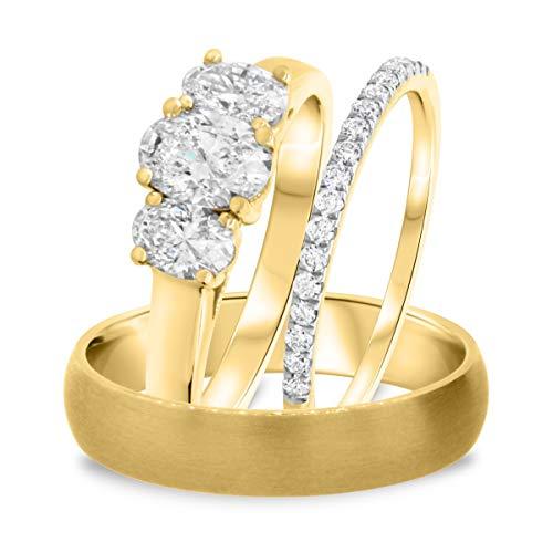 Juego de anillos de boda con forma ovalada D/VVS1 de 1 1/5 quilates, 5 mm, para hombres y mujeres de 3 mm, chapado en oro amarillo de 14 quilates, plata 925