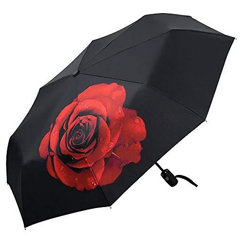 VON LILIENFELD Regenschirm Taschenschirm Windfest Auf-Zu-Automatik Stabil Leicht Rose rot