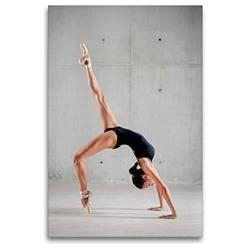 CALVENDO Lienzo Premium de 80 cm x 120 cm de Alto, Bailarina de Ballet en Cuerpo Negro Que Forma tu Cuerpo en un Puente, Imagen sobre Lienzo, impresión en Lienzo (Arte calveno); Arte