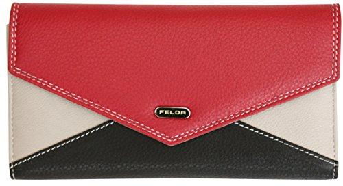 Felda portafoglio a busta da donna - 13 fessure per carte - vera pelle - rosso multicolore