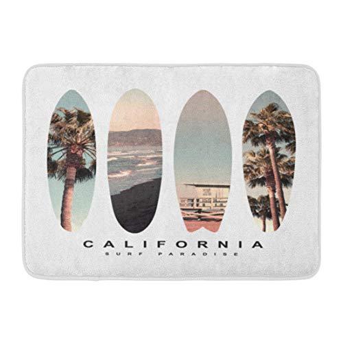 ECNM56B Fußmatten Bad Teppiche Fußmatte Surf Surfboard California Tee Grafiken Strand Vintage Palm Sport Tree 15,8