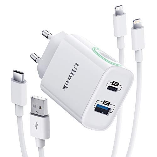 Ulinek Cargador Carga Rapida 20W con 2 Puertos y 2 Pack 2M Cables [USB C a Lightning y USB A] MFi Certificado Cargador Rapido iPhone Fast Charge 3.0 Adaptador para iPhone 12 11 Pro MAX XS XR X 8 iPad