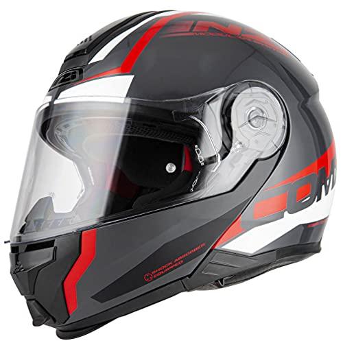 NZI Combi 2 Duo Shock Antracita Rojo - Casco de Moto Modular (XXL)