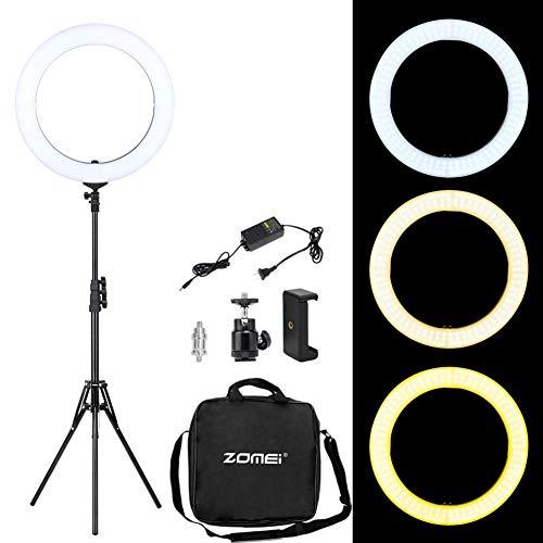 "6"" Selfie Ring Light with Tripod Stand for YouTube Video and Live Stream/Makeup,Nugilla Led Desktop Ring Light,Cell Phone Holder Desktop LED Lamp Mini LED Camera Light with 3 Light Modes & 11 Brightne"