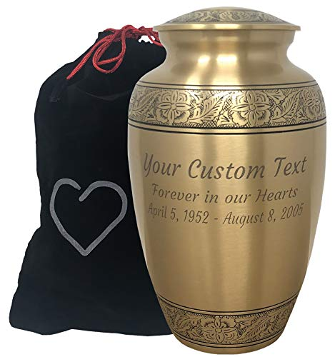 Momentful Life Custom Engraved Embossed Bronze Cremation Urn Adult Bronze Cremation Urn