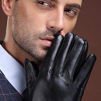 Men's Genuine Leather Gloves Real Sheepskin Black Men Gloves Button Fashion Brand Winter Warm Mittens W006 - (Color: 2, Gloves Size: XL)