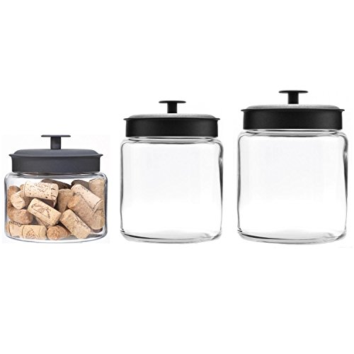 Anchor Hocking Montana Glass Jars with Airtight Lids Canister Set, Black Metal, 3-Piece Set