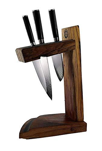 Ceppo portacoltelli esclusivo fatto a mano, con 3 coltelli Kai Shun Classic | DM-0701 (coltello multiuso) | + DM0706 (Santoku) | + DM-0727 (piccolo Santoku) | VK: 629,- €