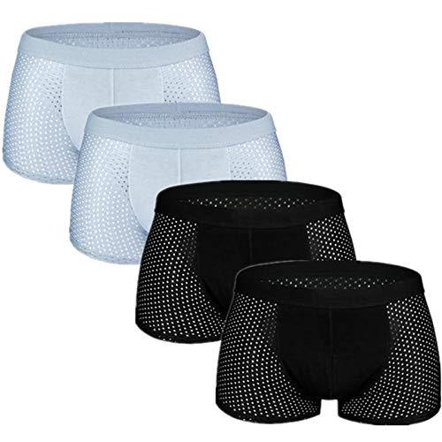TIGERROSA 4pcs / Lot Mesh Boxer Shorts Men Underwear Boxers Homme Sexy Transparent Mens Underpants Bamboo Fiber Panties Ice Silk Size L-7XL Style J @ L