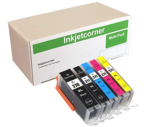 Inkjetcorner Compatible Ink Cartridges Replacement for PGI-270 CLI-271 PGI 270 XL CLI 271 for use with MG5700 MG6800 TS5020 TS6020 (Big Black, Small Black, Cyan, Magenta, Yellow, 5-Pack)