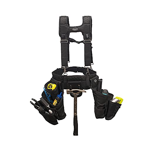 Bucket Boss - Ballistic Tool Belt with Suspenders, Tool Belts - Professional Series (57100), Black