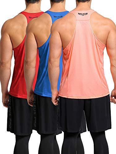 Neleus Men's 3 Pack Workout Muscle Tank Top Sleeveless Gym Shirt,Red,Light Blue,Orange,M,EU L