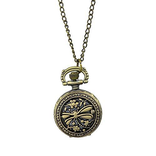 Feelontop Vintage Reloj de Bolsillo Tallado libélula Ahueca hacia Fuera el diseño Colgante Collar con Estuche