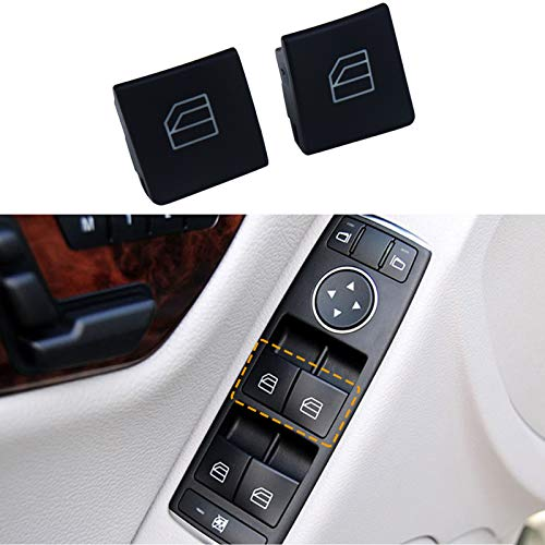 Moonlinks Window Switch Button Covers for Mercedes Benz W204 C Class W212 E Class GLK Class, Front Left and Right Window Switch Repair Button Caps(2 Pieces)