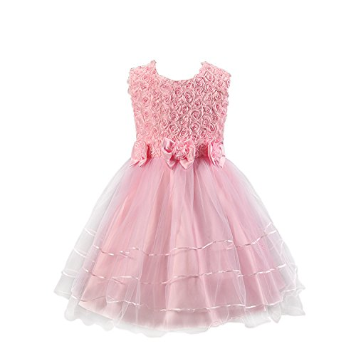 Discoball Girls Rose Flower Bow Tie Princess Party Dress Tulle Wedding...