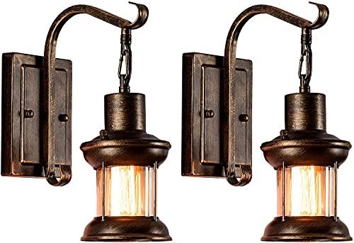 Dkdnjsk 2-Pack, Rústico Nordic Vidrio Pared Vintage Vintage Wall Fixtime Fixtures Retro Metal Negro Pintado Color Lámpara de Pared Para Restaurante Inicio Bar Dormitorio Corredor de noche Decoración (