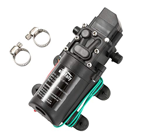 Auhafaly 12V DC Fresh Water Pump With 2 Hose Clamp 12 Volt Diaphragm Pump Self Priming Sprayer Pump with Pressure Switch 4.5 L/Min 1.2 GPM 110 PSI Adjustable for RV Camper Marine Boat Lawn