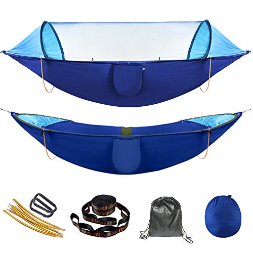 AMZQJDAnti-Rollover Camping HammockDouble & SinglePortable Hammocks withMosquito/Bug Net forOutdoor Travel (Blue)