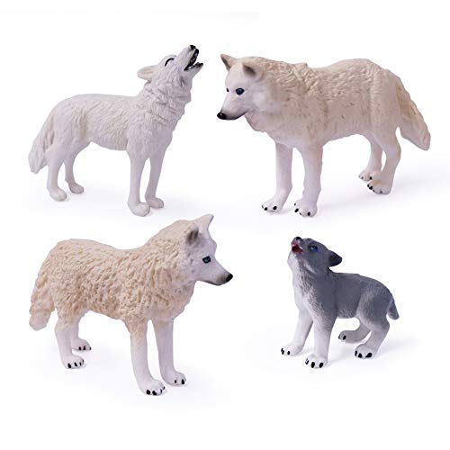4pcs Wolf Toy Figurines Set Wolf Animal Figures White Wolf Family Cake Topper Toy Gift for Kids (4pcs White Wolf Family)