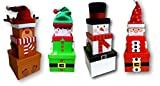 Zella Full Set x4 Christmas Eve Gift Stacking Boxes Plush Decorative Elf Santa Snowman Reindeer