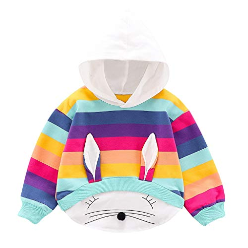 New Toraway Baby Kids Warm Pullover Baby Girls Boys Ranibow Rabbite Ear Print Hooded Pullover Kids C...