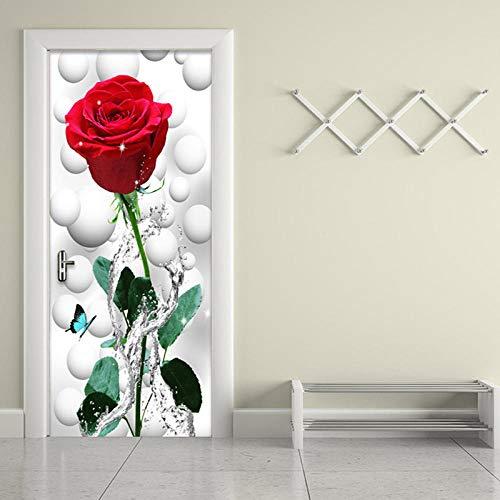 CBWRAW Pegatinas De Puerta 3D Flor Rosa Roja Etiqueta De Puerta Autoadhesivo Impermeable Papel Tapiz Foto para Cocina Sala De Estar Dormitorio Decorativas De Hogar Póster Mural 77X200cm