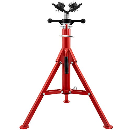 Mophorn Pipe Jack Stand With 4-Ball Transfer V-Head 6mm Thickness and Folding Legs 4500LB Welding Pipe Stand Adjustable Height 28-52IN 1107S-type Pipe Jacks for Welding