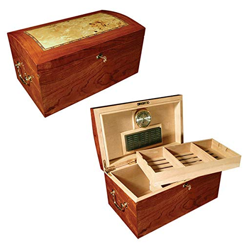 Prestige Import Group The Broadway Arch Top Cigar Humidor - Up to 150 Cigar Capacity - Color: Lacquer Burl w/Mappa Wood Inlay