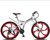 Miwaimao Vélo de montagne pliable 26 Pouces 21 24 27 30 Vitesse variable 6 Rayons Roue de Vélo Suspension Arrière Amortisseurs, a, 24gears