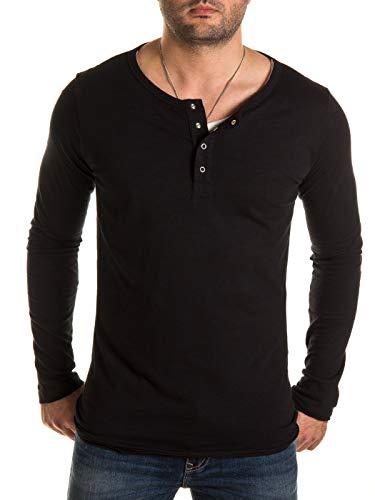 WOTEGA Longshirt Herren 2-in-1 Langarmshirt T-Shirt Pete - Schwarze Tshirts Männer Longsleeve schwarzes Shirt Long Sleeve, Schwarz (Black 194004), L