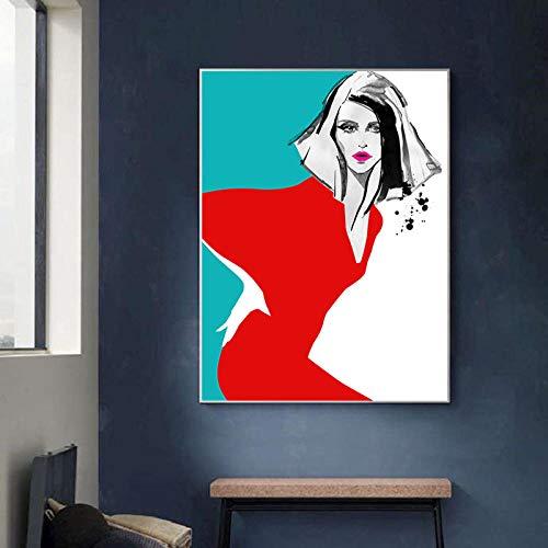 TXTYUMR Mujeres en Vestido Rojo Pintura Abstracta en Lienzo Decoración de la Pared del hogar Carteles e Impresiones de Moda Imágenes Decorativas de Arte Pop Decoración de Dormitorio/Sin Marco